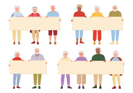 Elderly group old people holding blank banner cartoon set. Grandparents taking part in parade. Different nations representatives people, retirement age, protesters activists. Vector illustration