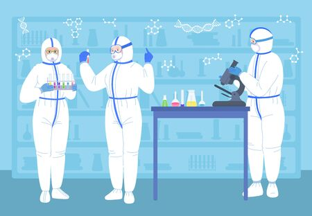 Scientist people in lab. With flasks, microscope, protective suits mask. Chemical laboratory scientist job, medicine workers flat character. Discovery vaccine coronavirus. Isolated vector illustration
