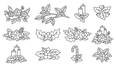 Christmas poinsettia, holly, candle set. Linear Flat cartoon design elements. New year and christmas outline composition. Berries and candy, flower collection, with stars. Isolated vector illustration