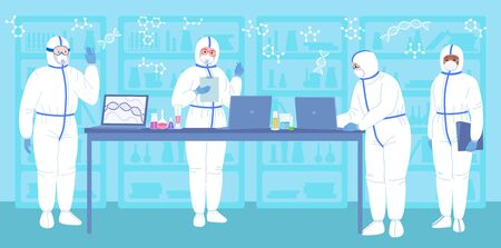 Scientist in lab, protective suits, mask. Flat cartoon chemical laboratory research. Discovery concept vaccine from coronavirus. Scientists flasks, microscope, computer working antiviral development.