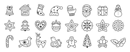 Christmas icon flat cartoon set. Sign New year, icons collection bird, holly, house, deer and candy, snowflakes, sock, Christmas tree, bell, star. Isolated vector illustration