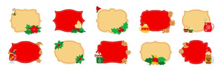 Christmas label and tag flat set. Cartoon holiday collection red and beige christmas patch labels. Christmas tags decorated holly mistletoe, candy and cookies. New Year collection. Vector illustration