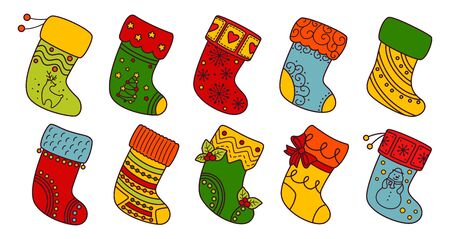 Christmas socks flat line set. Colorful linear cartoon holiday traditional and ornate stockings. Christmas socks for gift, decorated holly and patterns. New Year design collection. Vector illustration