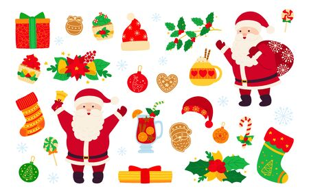 Christmas and New Year set. Holly cupcake, bell, cup, hat, santa and cookies gift, mulled wine. Flat cartoon design elements. New year, christmas objects collection. Isolated vector illustration