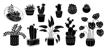 Succulents and plant, decorative potted ceramic flat silhouette set. Black glyph cartoon interior indoor flower. House plants, cactus monstera flowerpot. Isolated vector illustration Illustration