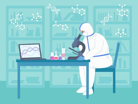 Scientist men works microscope in protective suits. Chemical lab research flat cartoon character. Discovery vaccine coronavirus. Scientist flasks, microscope, computer working antiviral development Vectores