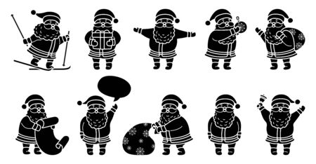 Santa Claus silhouette Christmas flat cartoon set. Black glyph collection funny character with gift, bag, skiing, toy, speech bubble or list. Different santa and New Year objects. Vector illustration