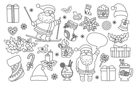 Christmas and New Year line set. Black linear holly, cupcake, bell, cup, hat, santa skiing cookies gift. Flat cartoon design elements. New year and christmas collection. Isolated vector illustration