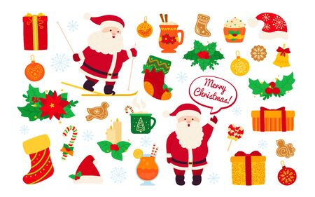 Christmas and New Year set. Holly, cupcake, bell, cup, hat, santa skiing and cookies gift. Flat cartoon design elements. New year and christmas objects collection. Isolated vector illustration Ilustrace