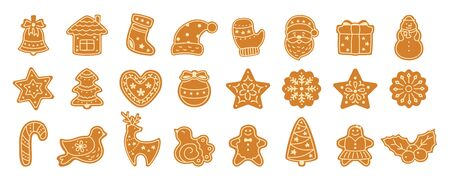 Christmas gingerbread cookie flat cartoon set. Sign New year sweet gingerbread man, bird, holly, house, deer and candy, snowflakes, sock, Christmas tree, bell, star. Isolated vector illustration
