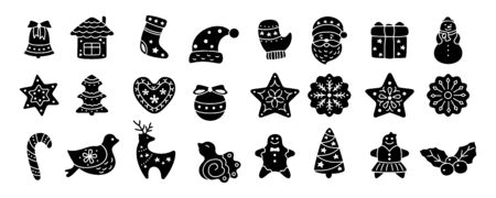 Christmas icon, black glyph. Flat cartoon set. Silhouette sign New year, icons collection bird, holly, house, deer and candy, snowflakes, sock, Christmas tree bell star. Isolated vector illustration Ilustrace