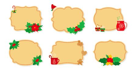 Christmas label and tag beige flat set. New Year tags decorated objects, holly mistletoe, candy cookies toys, candle. Cartoon holiday collection christmas patch labels collection. Vector illustration