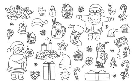 Christmas and New Year line set. Black linear holly, cupcake, cup, hat, santa and cookies gift, lollipop candle. Flat cartoon design. New year, christmas collection. Isolated vector illustration Ilustracja
