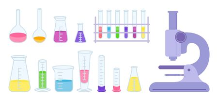 Microscope, flask and beaker, microscope, jars. Equipment lab science chemistry, flat cartoon set. Erlenmeyer flask, distilling, volumetric test tube. Laboratory research elements. Vector illustration