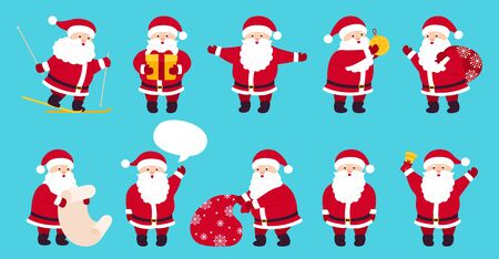 Santa Claus cute Christmas flat cartoon set. Collection funny character with gift, bag, skiing, present, speech bubble. Different emotions santa, New Year objects. Vector illustration blue background