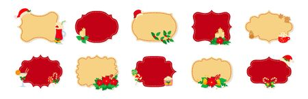 Christmas label or tag flat set. Cartoon holiday collection red and beige christmas patch labels. Christmas tags decorated holly mistletoe, candy and cookies. New Year collection. Vector illustration Ilustracja