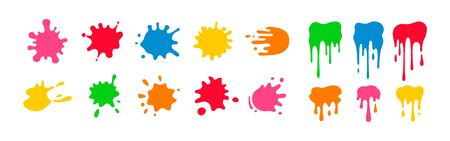 Paint splatter colorful set. Round splash flat collection, decorative shapes liquids. Different splashes and drops, cartoon spatters. Stain colored ink collection. Isolated vector illustration