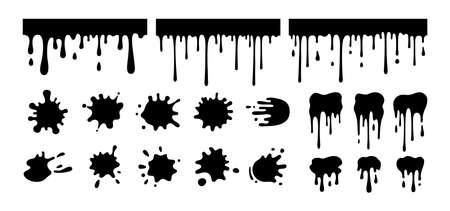 Splash shape set. Black silhouette, round ink splatter glyph collection, decorative shapes liquids. Grunge splashes, drops, spatters cartoon style. Stain ink collection. Isolated vector illustration Illusztráció