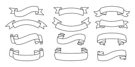 Ribbon outline hand drawn set. Tape blank flat collection, decorative icons. Vintage line design, ribbons sign linear style. Web icon kit of text banner tapes. Isolated vector illustration