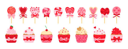 Valentines day sweets, candy and cupcake set. Cartoon Tasty holiday flat cartoon sweets. Lollipop cane caramel, sugar cake cream. Party food, decorated hearts, bow. Isolated vector illustration