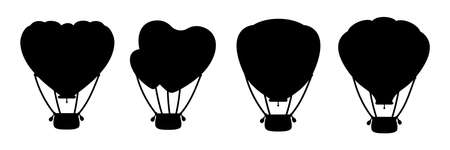 Hot air balloon black silhouette set. Monochrome heart shape or circle. Cartoon Valentine day design air balloons collection. Festivals or wedding journey air transport. Vector Isolated illustration