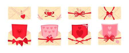 Festive envelope, postcard flat set. Valentine day or wedding envelopes for letters, decorated bows. Opened, closed mail cover. Cartoon newsletter, delivery of invitation. Isolated vector illustration Illustration