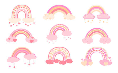 Rainbow pastel set flat cartoon style. Rainbows with clouds abstract hand drawn collection. Cute nature weather elements for kids. For poster, print, card, fabric or book. Isolated vector illustration