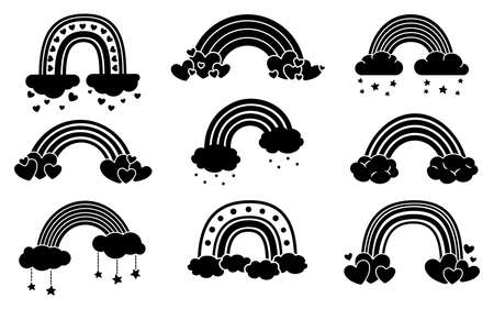 Rainbow monochrome black set, flat cartoon style. Rainbows with clouds, abstract hand drawn collection. Glyph nature weather elements. For poster, print, card or books. Isolated vector illustration