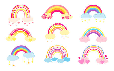 Rainbow set flat cartoon style. Rainbows with clouds abstract hand drawn colored collection. Cute bright nature weather elements for kids. For print, card, fabric or book. Isolated vector illustration