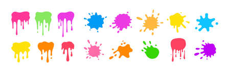 Paint splash shape colorful set. Round ink splatter flat collection, decorative shapes liquids. Grunge splashes, drops, spatters cartoon style. Stain colored collection. Isolated vector illustration