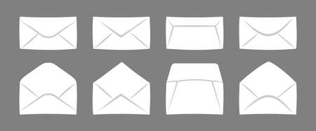 Mockup envelope set. Opened and closed paper cover. Envelopes for letters cartoon flat collection. Newsletter mail, delivery of correspondence or office documents. Isolated vector illustration