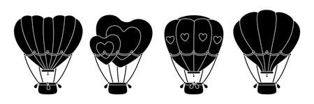 Hot air balloon black glyph set. Monochrome flat heart shaped or circle. Cartoon Valentine day design air balloons collection. Festivals or wedding journey air transport. Vector Isolated illustration