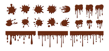 Chocolate streams dripping, blob set. Current splatter melted chocolate, decorative shapes liquids. Stain shape collection, splashes drops, cartoon flat spatters. Isolated vector illustration Illustration