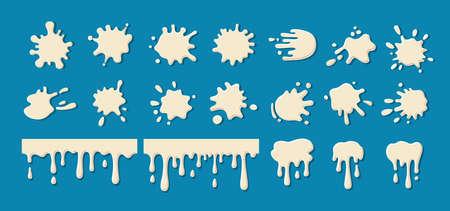 Milk drip splatters blob set. White yogurt, cream current splatter collection. Decorative shapes liquids. Stain shape collection, drops cartoon flat spatters. Isolated vector illustration
