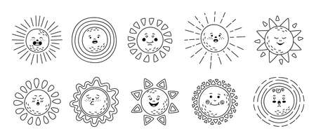 Sun flat linear set. Hand drawn cute suns. Funny outline childish sunny emoticons collection. Smiling sun sunbeams cartoon character. Emoji black line summer emoticons. Isolated vector illustration