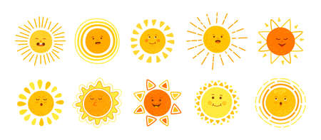 Sun flat set. Hand drawn cute suns. Funny yellow childish sunny emoticons collection. Smiling sun with sunbeams cartoon character. Emoji summer emoticons. Isolated vector illustration white background