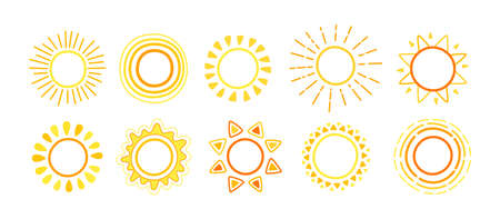 Sun icons collection. Doodle hand drawn suns set. Bright yellow sun with sunbeams cartoon sketch. Happy childish design element. For poster, print, card or books. Isolated vector illustration Illusztráció