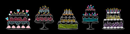 Birthday cakes linear flat set. Cartoon chalk graphic line delicious dessert. Party pie element, candles and chocolate slices, cream sweets. Vector illustration isolated on black background