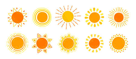Sun flat set. Hand drawn cute suns. Funny yellow childish sunny collection. Yellow bright abstract sun with sunbeams cartoon summer. For poster, print, card or books. Isolated vector illustration