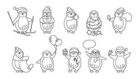 Penguin christmas cartoon line set. Cute flat hand drawn penguins collection. New year smile happy character linear, santa hat, balloons, garland, gift ski, speech bubble. Isolated vector illustration