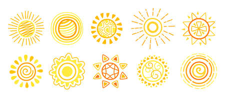 Sun doodle set. Hand drawn yellow bright cute suns. Funny happy childish sunny collection sketch. Sun with sunbeams cartoon sketch. For poster, print, card or books. Isolated vector illustration