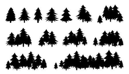 Forest trees textured, black silhouette. Hand drawn landscapes flat monochrome shape. Evergreen woods horizon. Various forms of cartoon wood. Vector illustration on white background