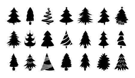 Christmas tree black silhouette collection. Hand drawing monochrome xmas trees cartoon set. New Year traditional design ornaments, stars, garlands. Stylized symbol for holiday flat vector illustration Vektorgrafik