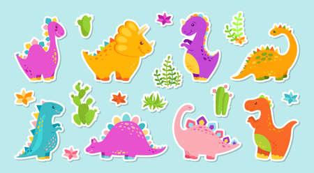 Sticker dinosaur cartoon set. Reptile flat collection, predators and herbivores dino, egg. Funny colorful dinosaurs. Baby design cute animals. Vector illustration isolated on white background Ilustração Vetorial