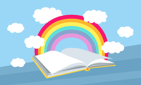 Open book with rainbow, clouds. Cartoon bookshelves library. Flat books collection. School interior study. Vector illustration on blue background