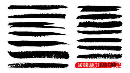 Black Friday sale paint stripe template set. Ink painting, brush banner stroke. Watercolor grunge line texture. Black dirty splash blots shape border background. Isolated vector illustration Ilustración de vector