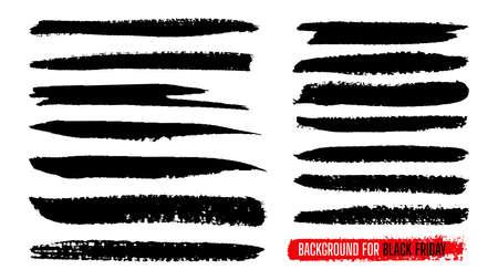 Black Friday sale paint stripe template set. Ink painting, brush banner stroke. Watercolor grunge line texture. Black dirty splash blots shape border background. Isolated vector illustration Vetores