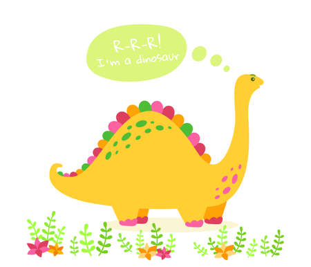 Cartoon dinosaur with speech bubble. Kids flat design for fabric or textile. Colorful Brontosaurus with plants and cactus. Vector illustration isolated on white background