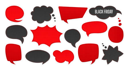 Black Friday sale Speech bubble set. Template advertising patches scrapbook of sales, promotion. Halftone dot background, black and red. Comic 80s-90s style collection. Isolated vector illustration Illustration