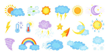 Weather cartoon set. Cute hand drawn sun and clouds, rain or snow, lightning, moon and star. Symbols of forecast weather. Vector outline colored flat collection. Meteorological infographics signs 向量圖像